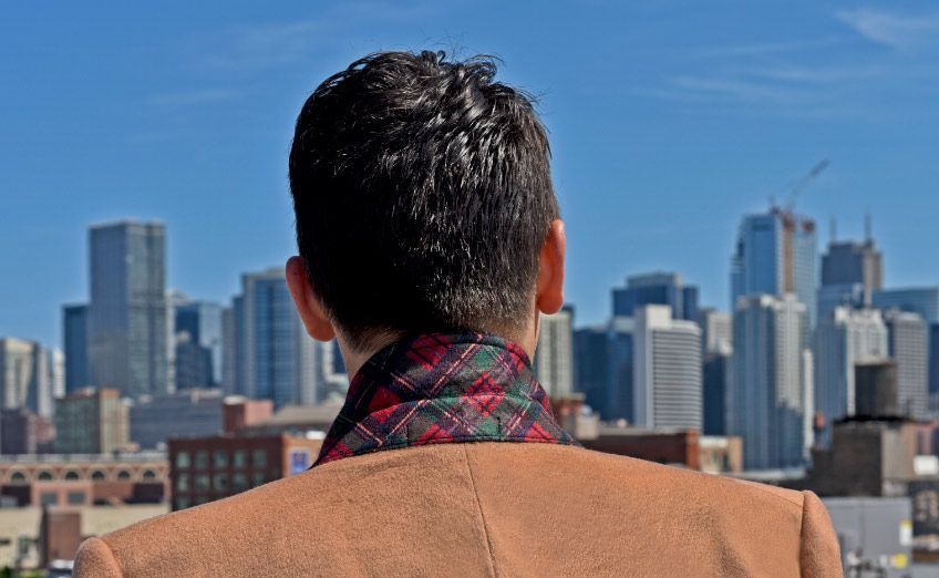 Chicago Senszio Suit Coat Winter Skyline View 848x522