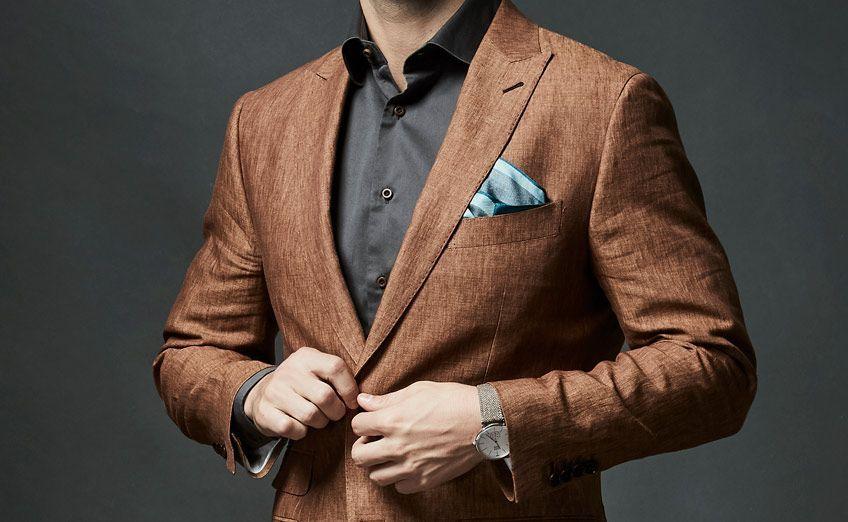 Brown Linen Suit Close Detail Jacket Aftercare 848x542
