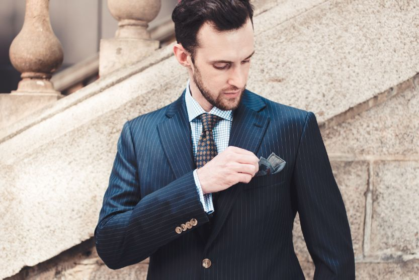 Style Inspiration Mens Lookbook Navy Pinstripe Suit Graph Check Shirt Pocket Square 833x557