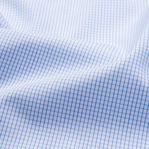 Style Inspo Thomas Mason 100s Light Blue Mini Grid Twill Cotton Lightweight
