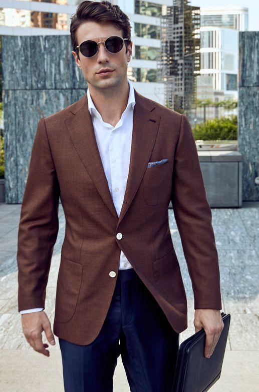 Style Inspiration Mens Lookbook Stallion Brown Jacekt Navy Trouser White Shirt 517x783