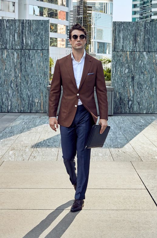 Style Inspiration Mens Lookbook Stallion Brown Jacket Navy Trousers 517x783