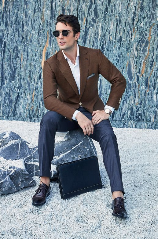 117ada672b Style Inspiration Mens Lookbook Stallion Casual Brown Jacket Navy Trousers  517x783