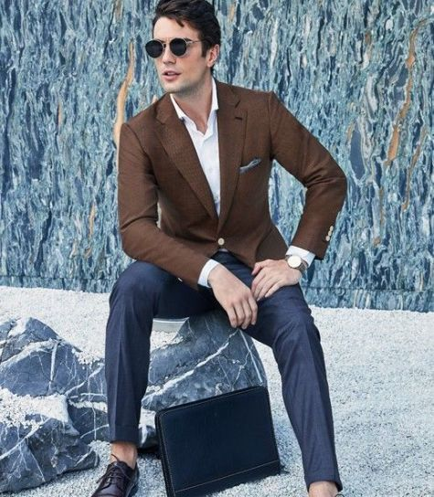Style Inspiration Mens Lookbook Stallion Casual Brown Jacket Navy Trousers 517x783
