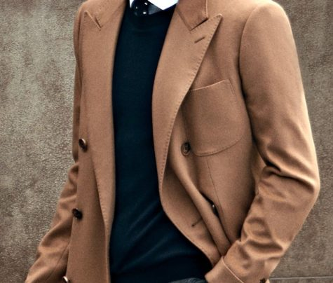 Stylist light brown smart overcoat, custom made for the perfect fit by Senszio's expert tailors