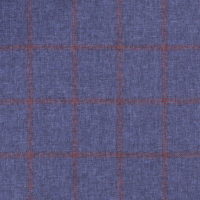 C1024 Carnet Red Check On Blue Navy Ground