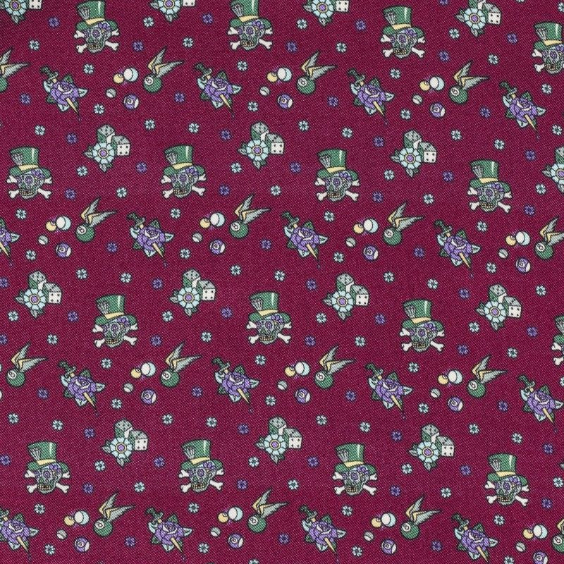 C7005 Carnet Printed Microdesign With Skulls On Bordeaux Ground