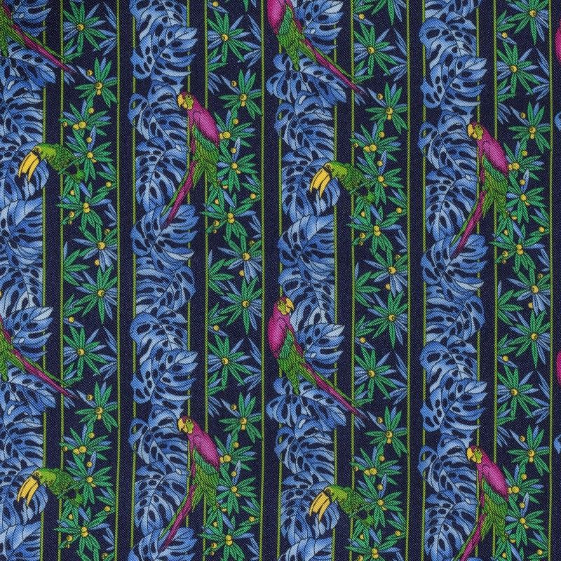C7015 Carnet Printed Floral Design With Parrots On Blue Navy Ground