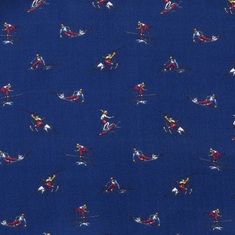 C7016 Carnet Printed Design With Skiers On Blue Ground