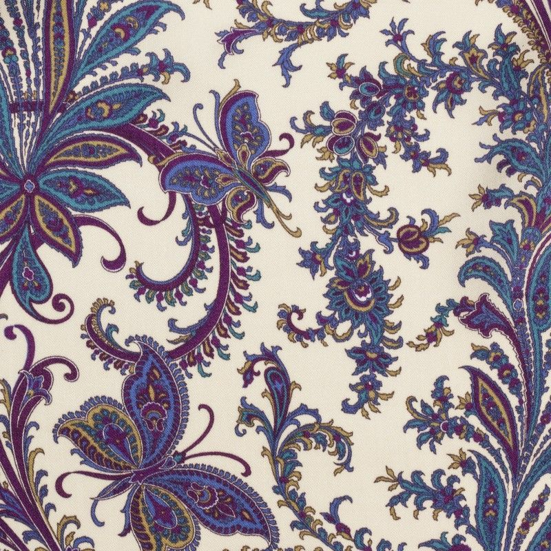 C7022 Carnet Printed Violet Cachemire Design On Beige Ground