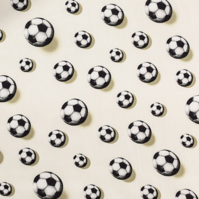 C7023 Carnet Printed Soccer Balls Design On Beige Ground