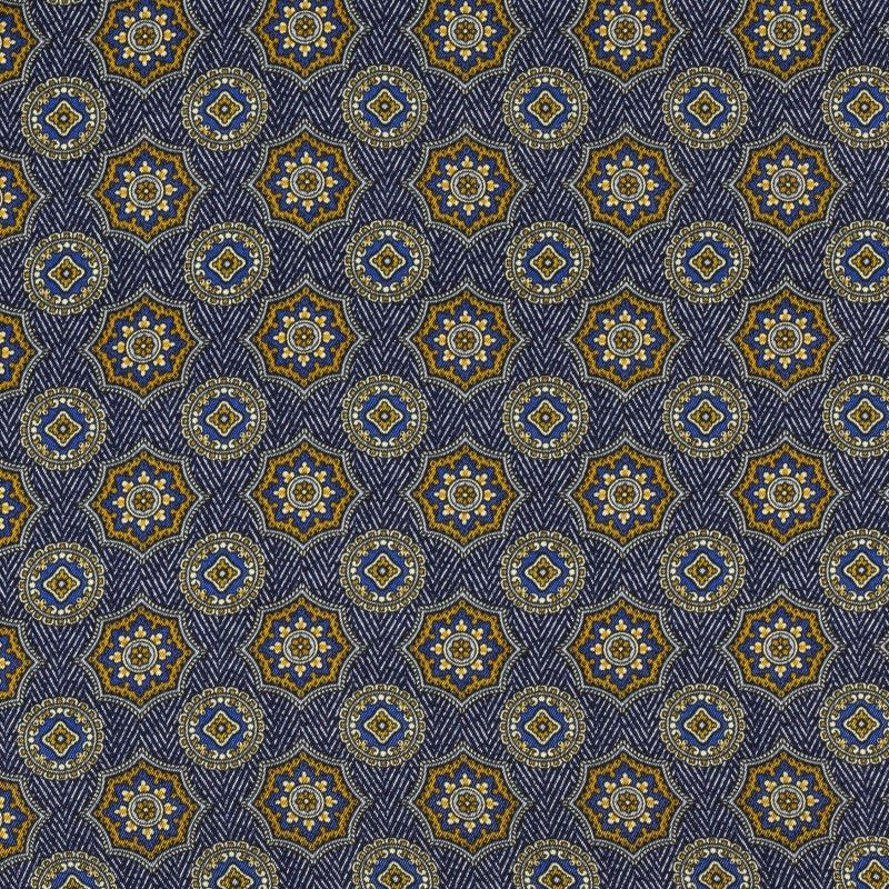C7026 Carnet Printed Geometric Design On Blue Herringbone Ground