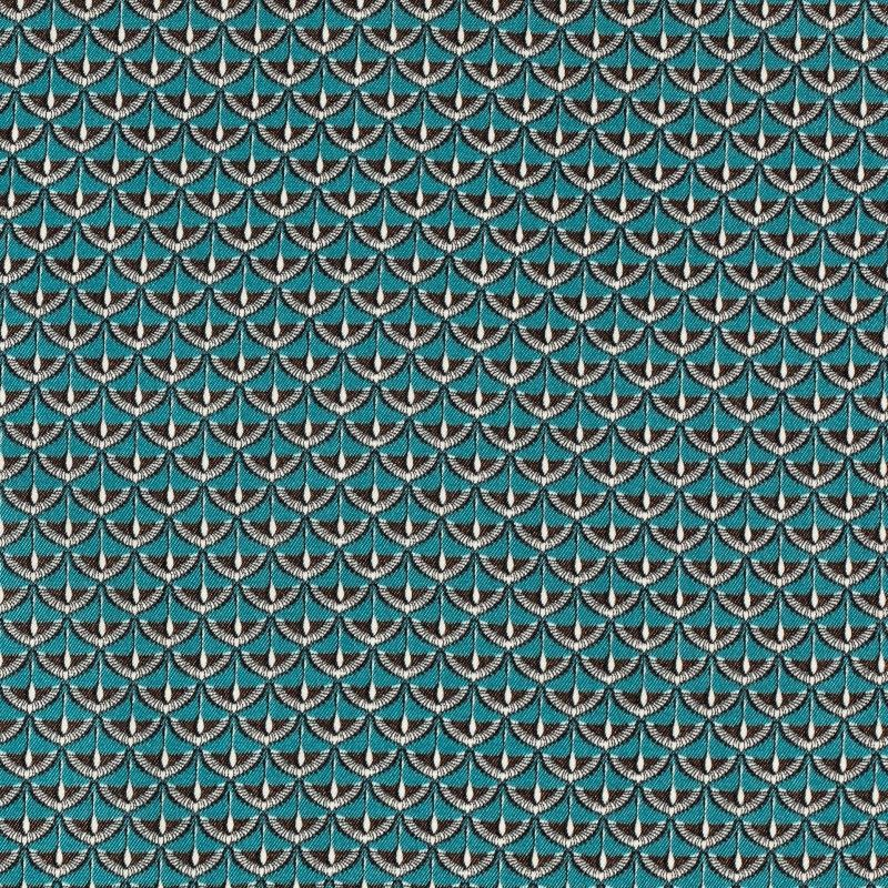 C7030 Carnet Printed Fancy Geometric Microdesign On Light Blue Ground