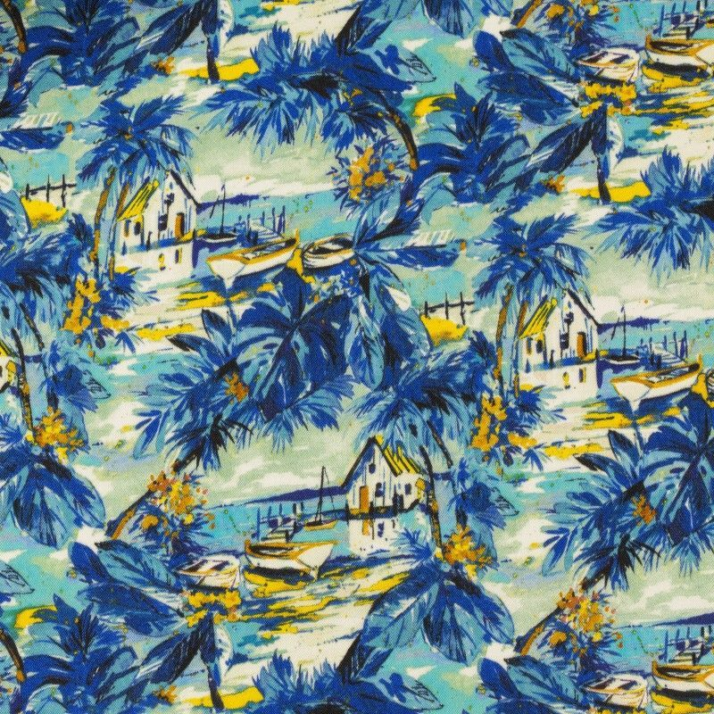 C7031 Carnet Printed Tropical Design With Houses And Flowers On Blue Ground