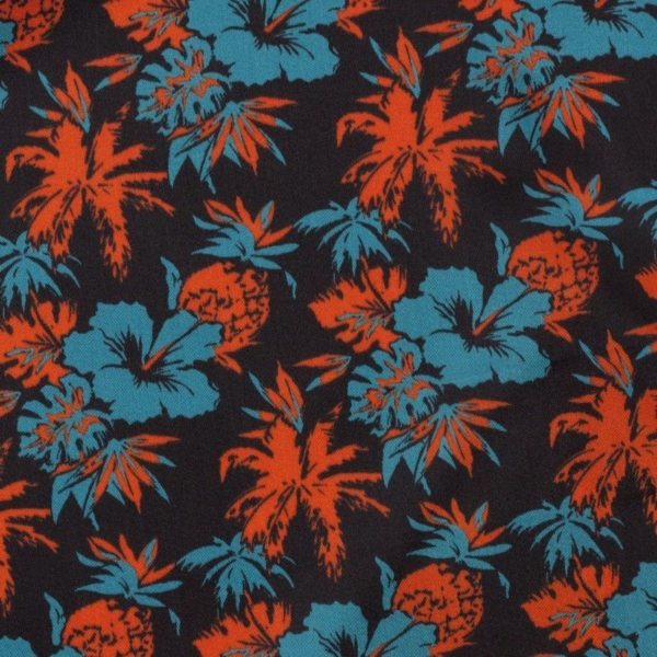 C7033 Carnet Printed Hawaiian Flower Design On Black Ground