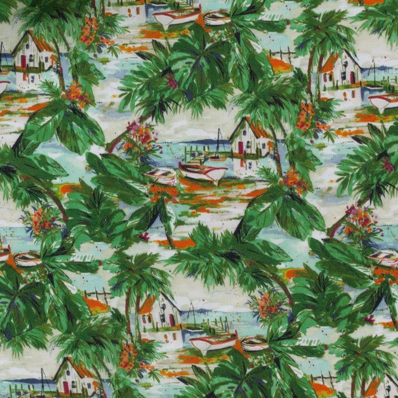 C7041 Carnet Printed Tropical Design With Houses And Flowers On Green Ground