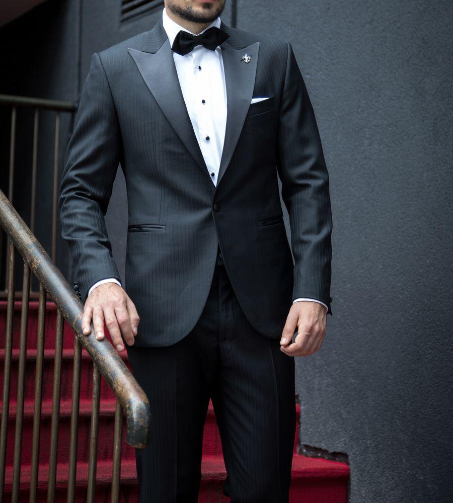 Black Herringbone Tuxedo With Satin Accents