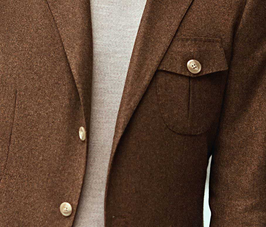 Brown wool smart jacket with statement buttons, custom made by Senszio travelling tailors