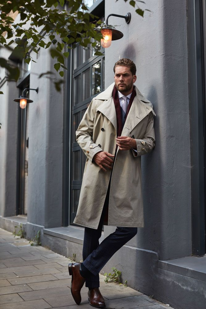 Senszio's custom tailored trench coats are made from waterproof cotton, with removable wool and cashmere lining.