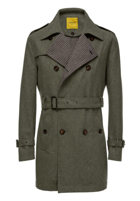 Brownish grey men's trench coat with tartan lining and belt, custom tailored by Senszio
