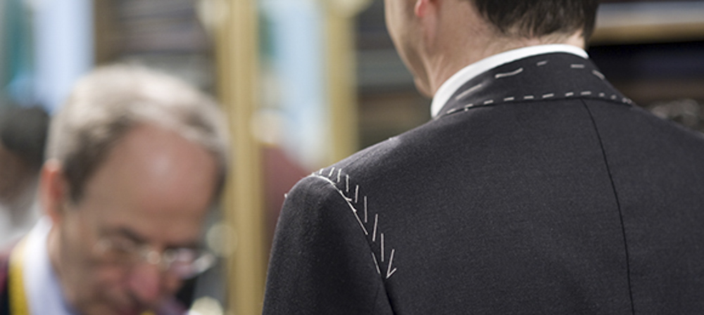 Senszio second fitting for a bespoke tailored suit