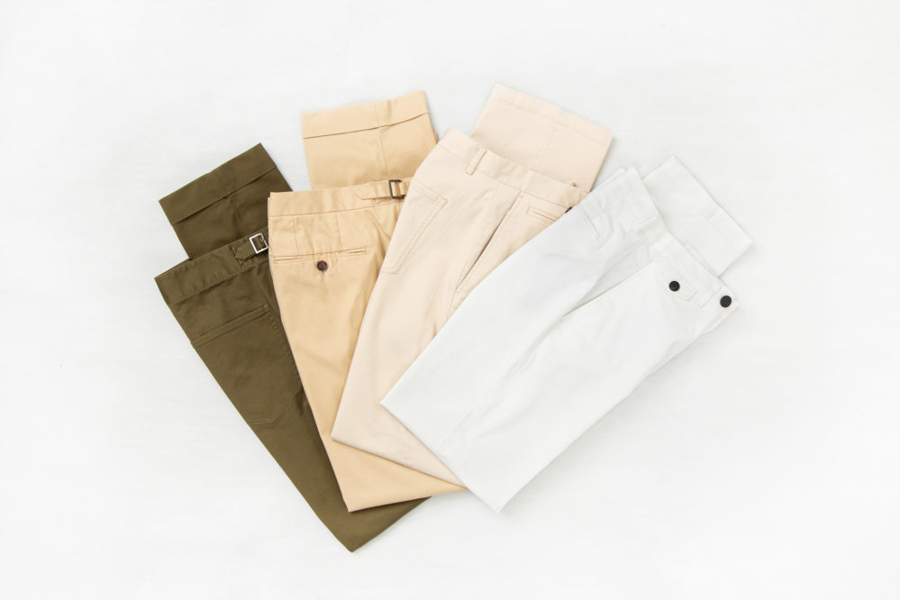 Senszio custom tailored chinos come in a variety of colors, such as shades of brown, cream and white