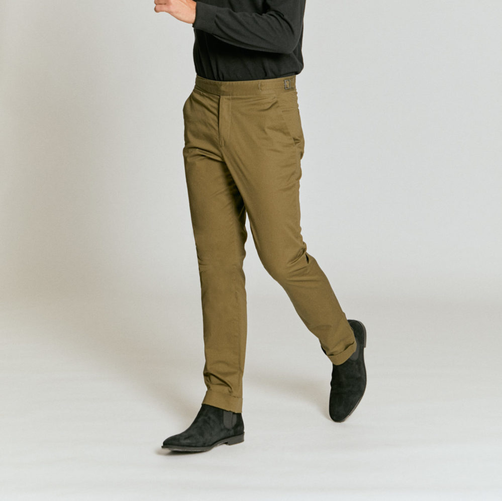 Model in olive chinos, part of Senszio's expertly tailored casualwear range for men