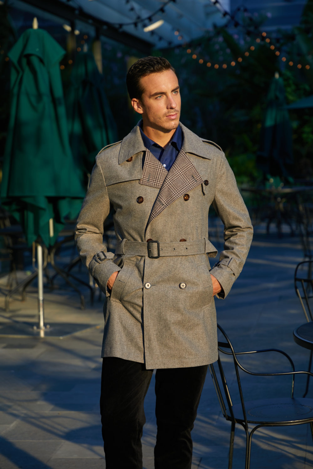 Elegant trench coat, custom made by Senszio's expert tailors in the finest premium fabrics