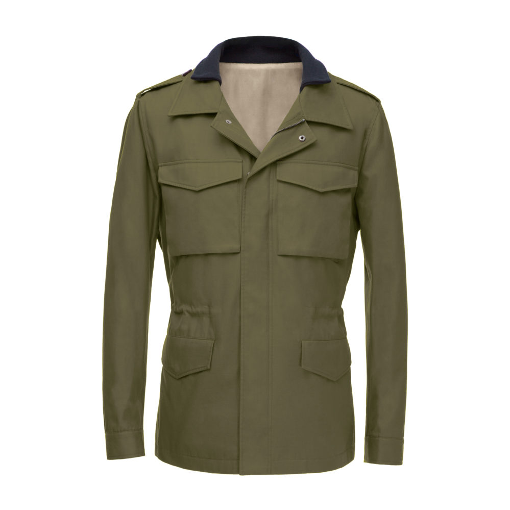 Flat lay of a khaki green field jacket, inspired by military jackets and with customisation options including fit and pockets