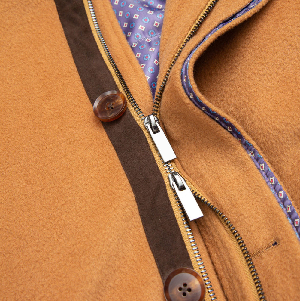 The best fabric for a men's custom overjacket is a wool and cashmere blend, for the ideal level of warmth