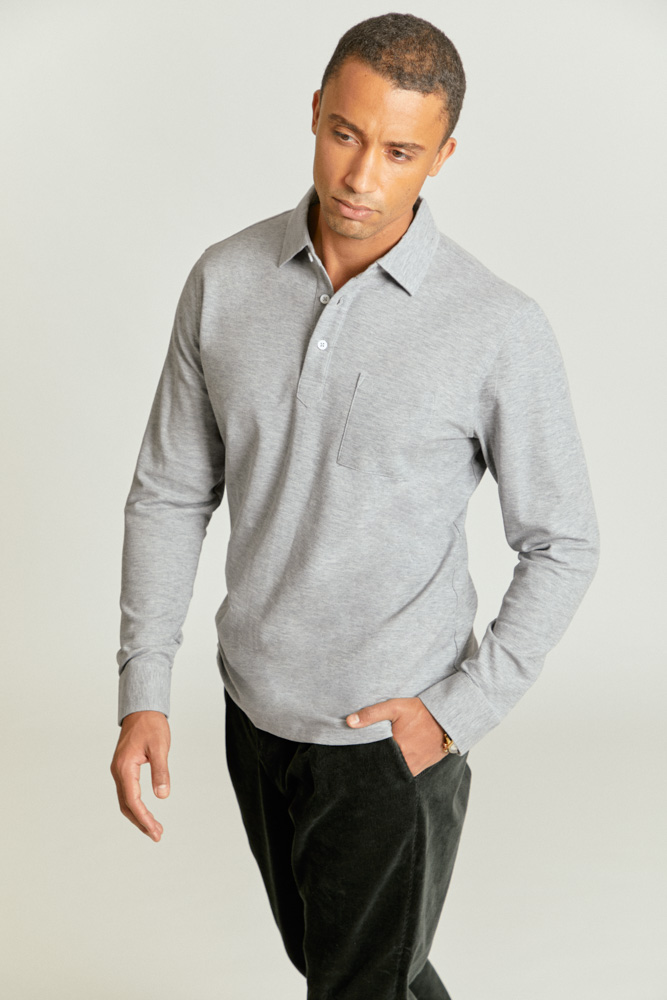 Long sleeved men's polo shirt in light grey, with front pocket, custom made by Senszio