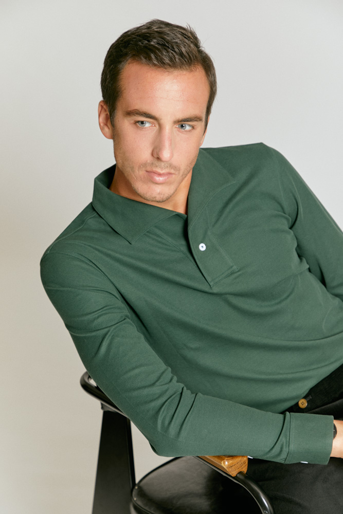 Model in long sleeve green polo shirt, custom tailored by Senszio as part of the men's casualwear range