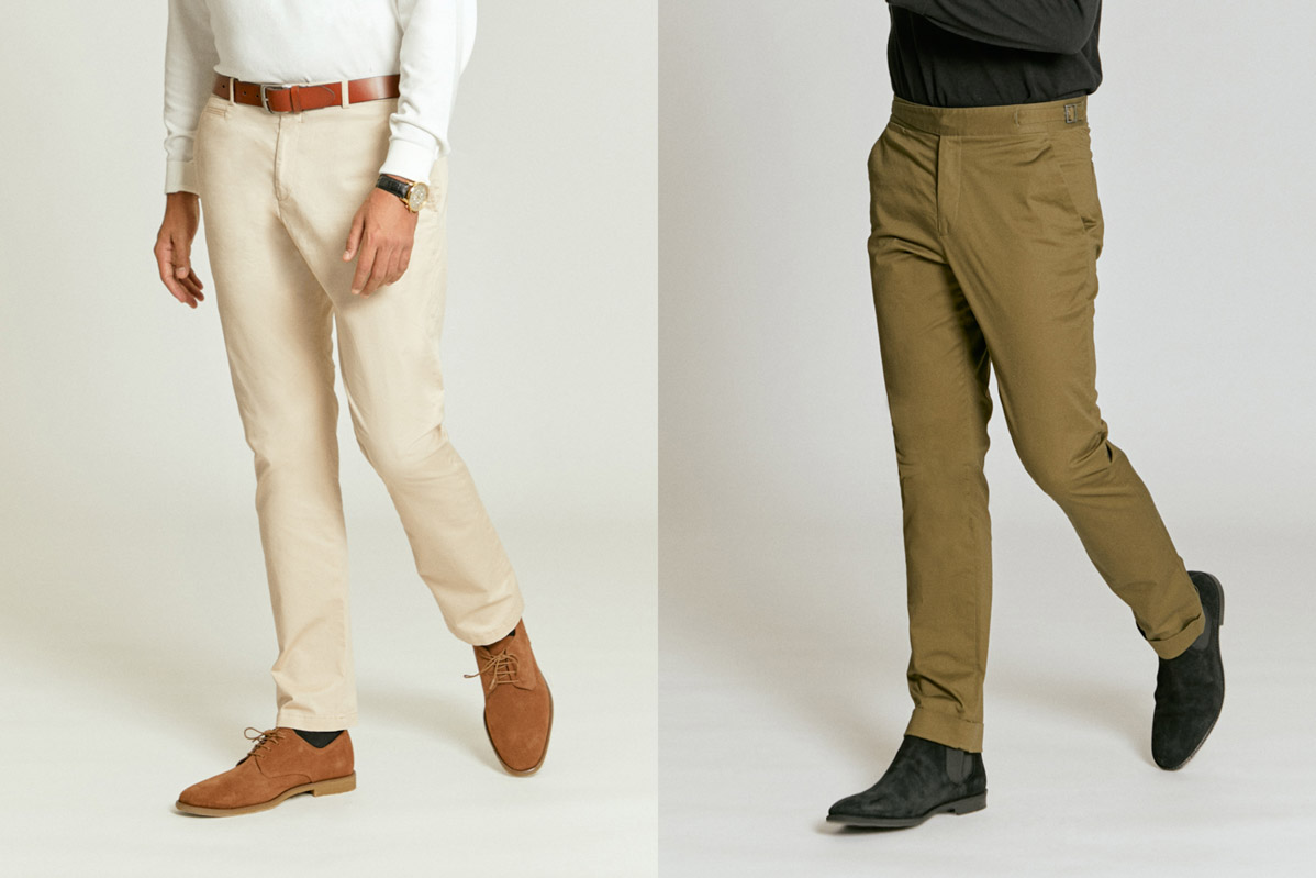 Chinos, custom made to order, part of Senszio's casual wear range of tailored essentials