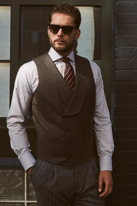 Summer smart attire from Senszio, a pinstripe suit and a waistcoat, custom made from fit to fabric