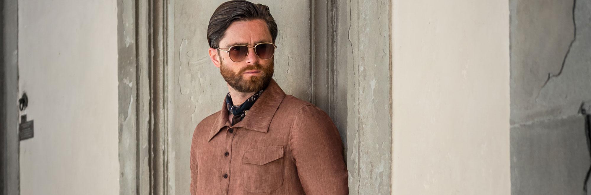 Men custom tailored brown popover shirt